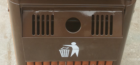 钢木公园垃圾桶、户外果皮箱、钢制果皮箱、户外单桶果皮箱